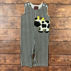 LIL CACTUS Cow Checkered Romper Overals  6-12M